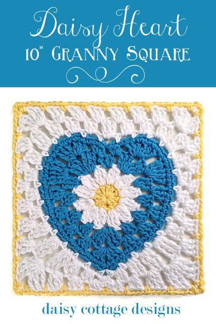 crochet heart square pattern