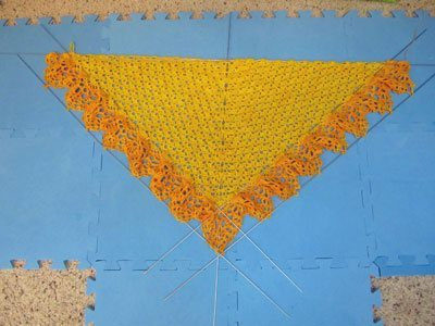 crochet shawl blocking