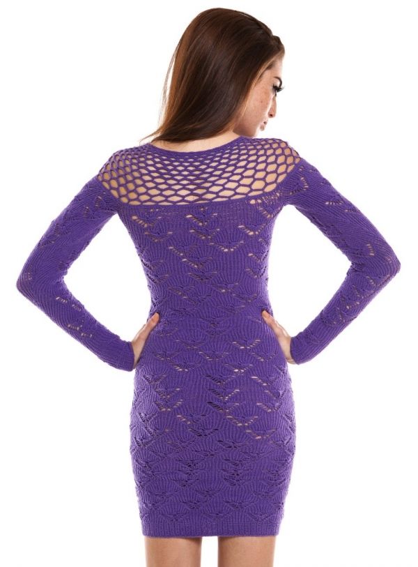 helen rodel crochet purple dress