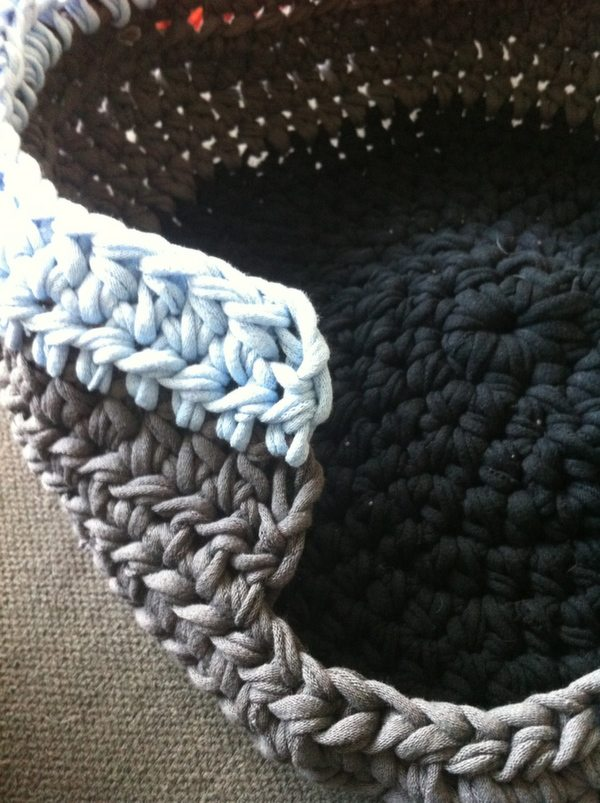 T-Shirt Yarn Crochet Covered Puppy Bed
