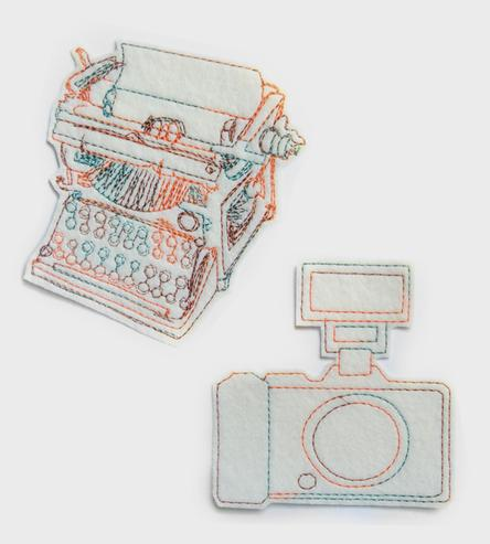 typewriter iron on patch