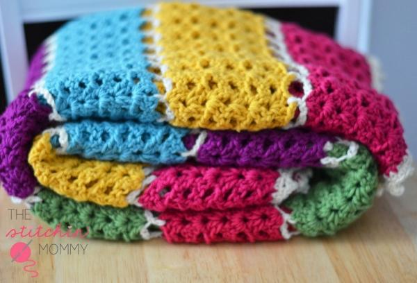 gehaakte kleurrijke deken gratis patroon