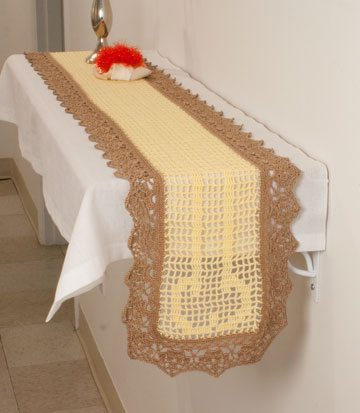 penis crochet table runner