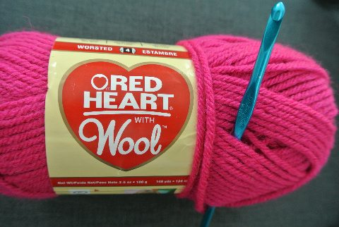 red heart with wool yarn