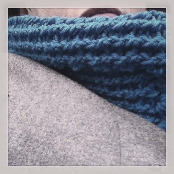 blue crochet cowl