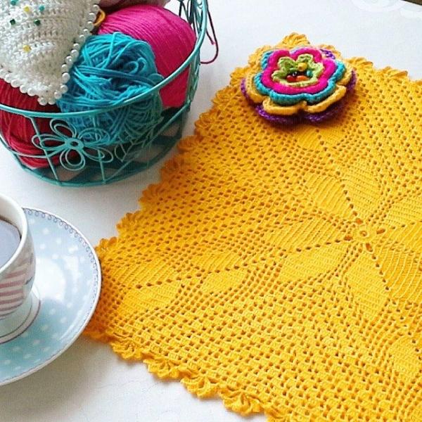 ceyhan65 crochet yellow cushion