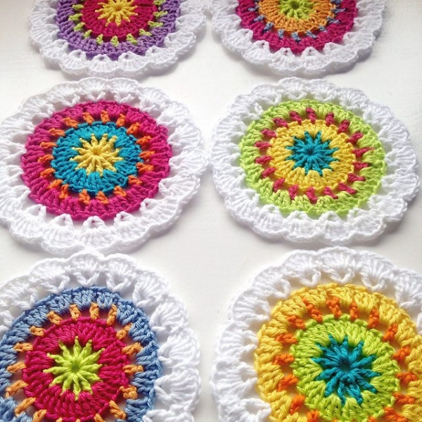 colorful crochet coaster pattern