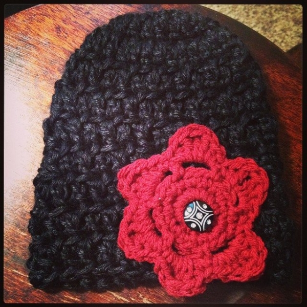 creativeglo13 crochet hat with flower