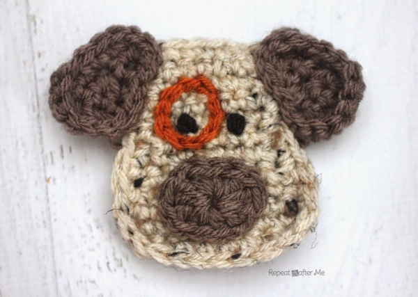 crochet dog applique free pattern