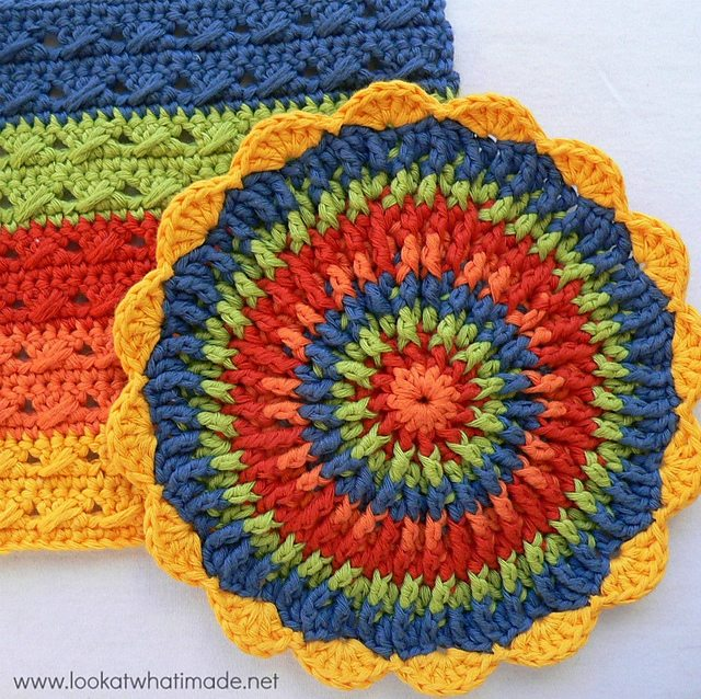 crochet post stitch dishcloth free pattern