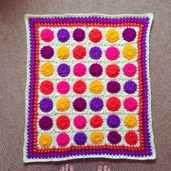 cuteashook crochet flower blanket