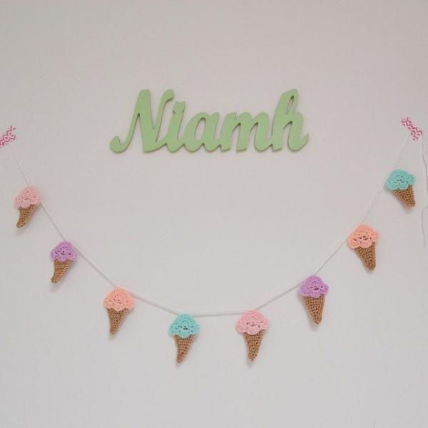 littlefoxcrochet crochet ice cream garland