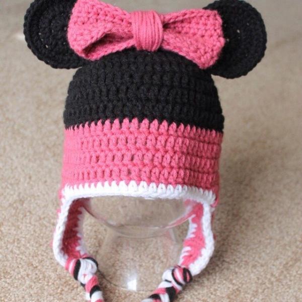 audra_hooknowl crochet minnie hat