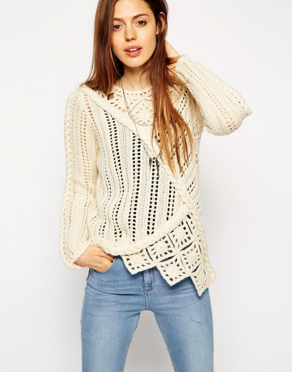 crochet and knit sweater