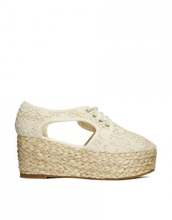 crochet lace wedge shoes