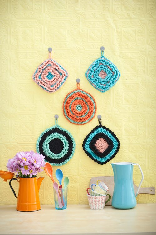 crochet potholder display