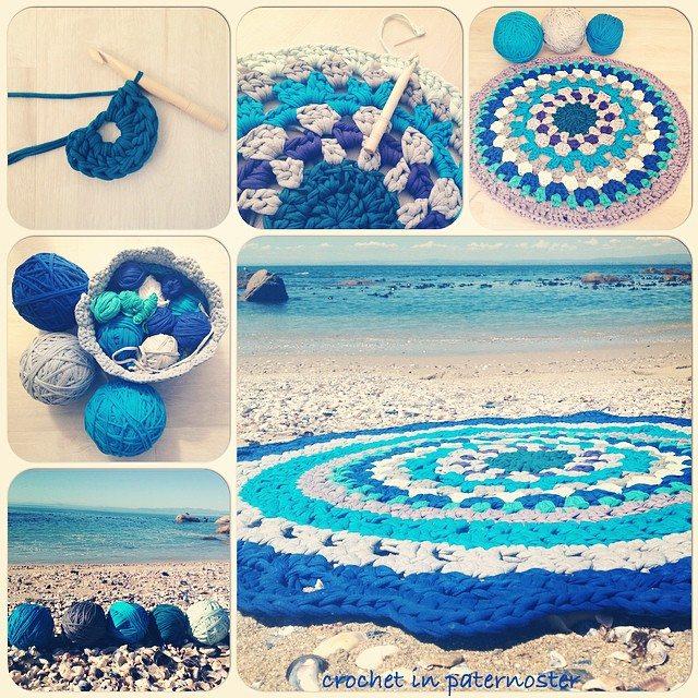 crochetinpaternoster t-shirt yarn mandala crochet rug