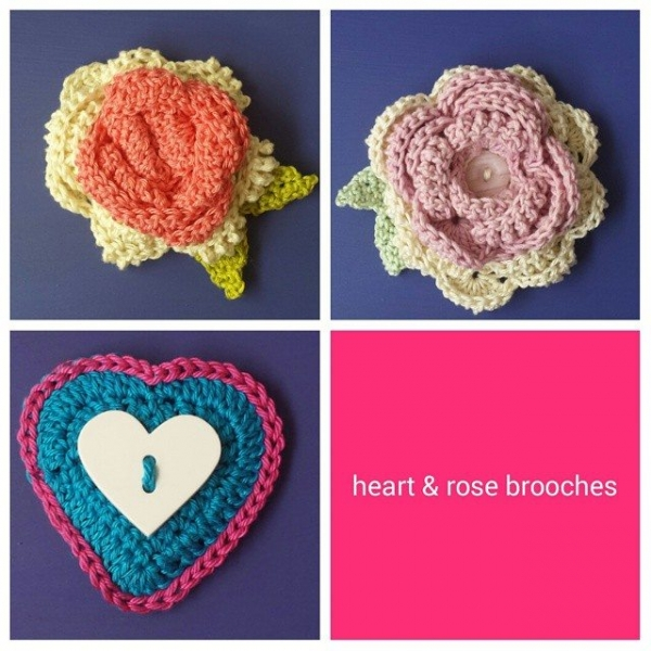 hookybren crochet brooches
