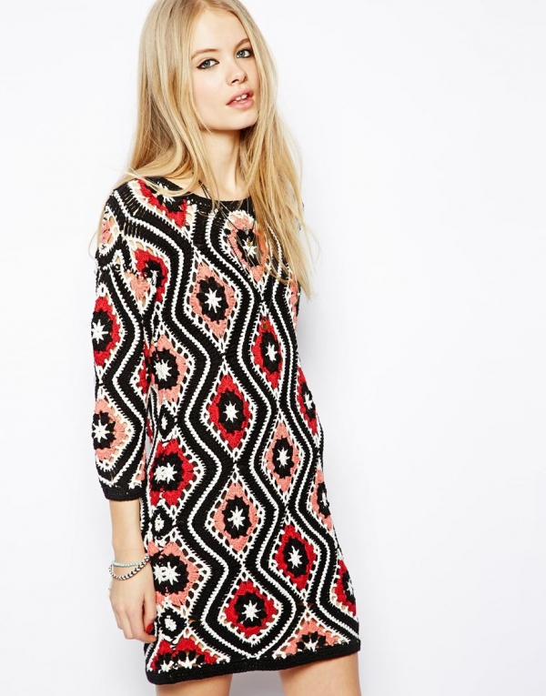 patchwork crochet dress