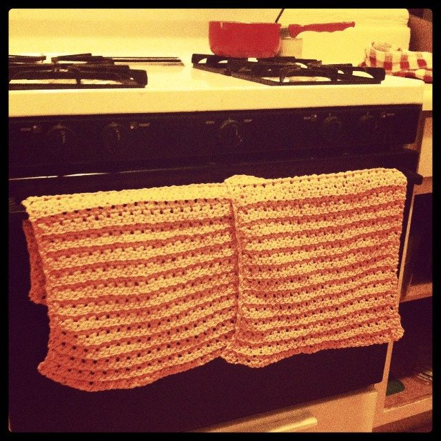 seed stitch crochet towels