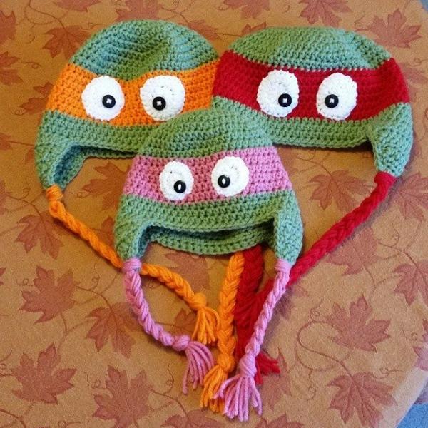 thegirllovesyarn crochet ninja turtle hats