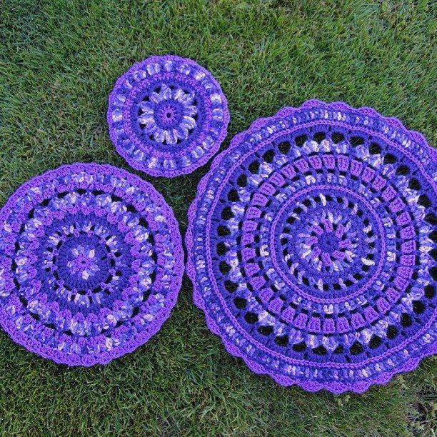 wendysquiltsandmore gehaakte paarse mandala