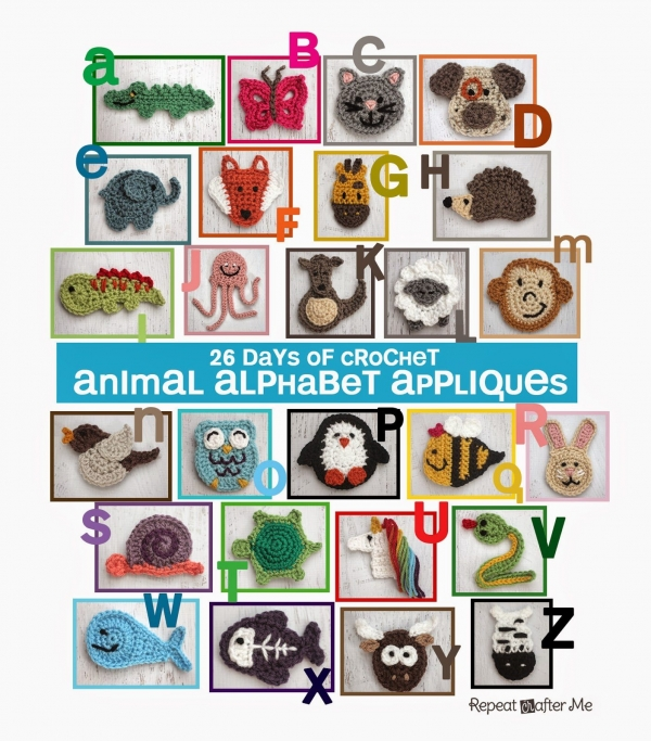crochet animal applique patterns