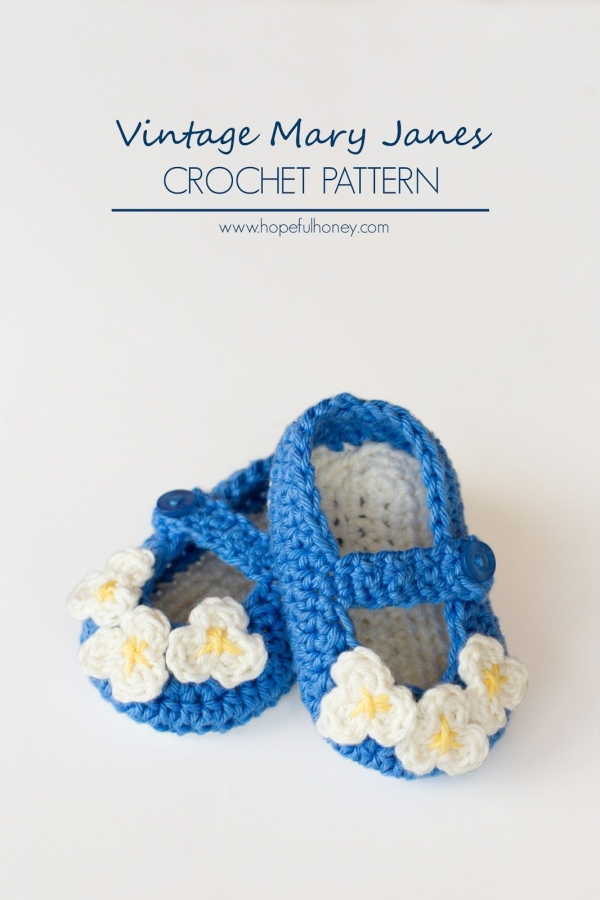 Vintage Mary Jane Baby Booties Crochet Pattern 3