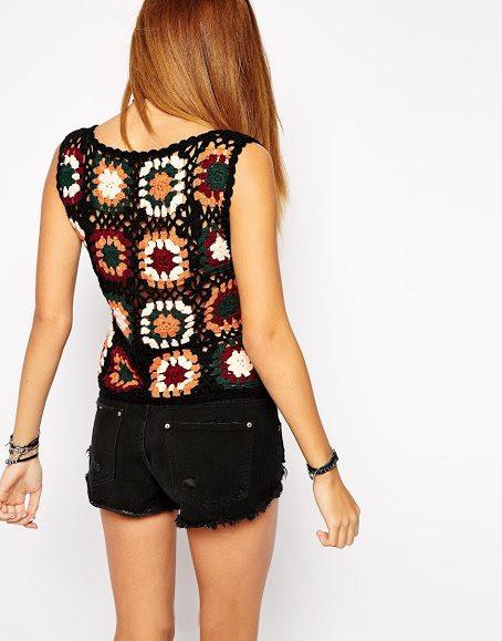 asos crochet granny square shirt