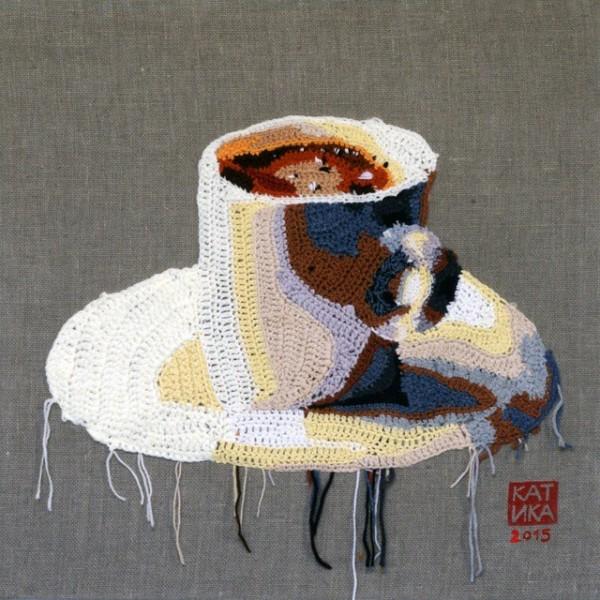 crochet coffee art