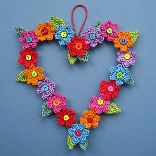 crochet heart flower wreath