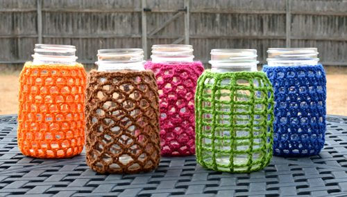 crochet mason jar cozy patterns