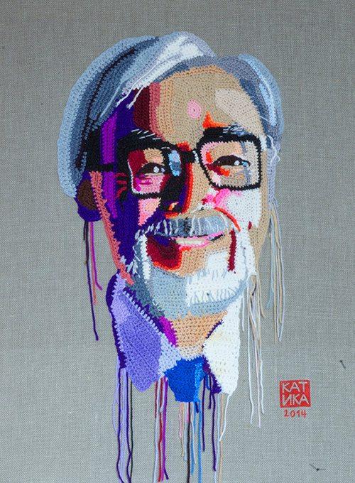 crochet portrait art hayao miyakazki