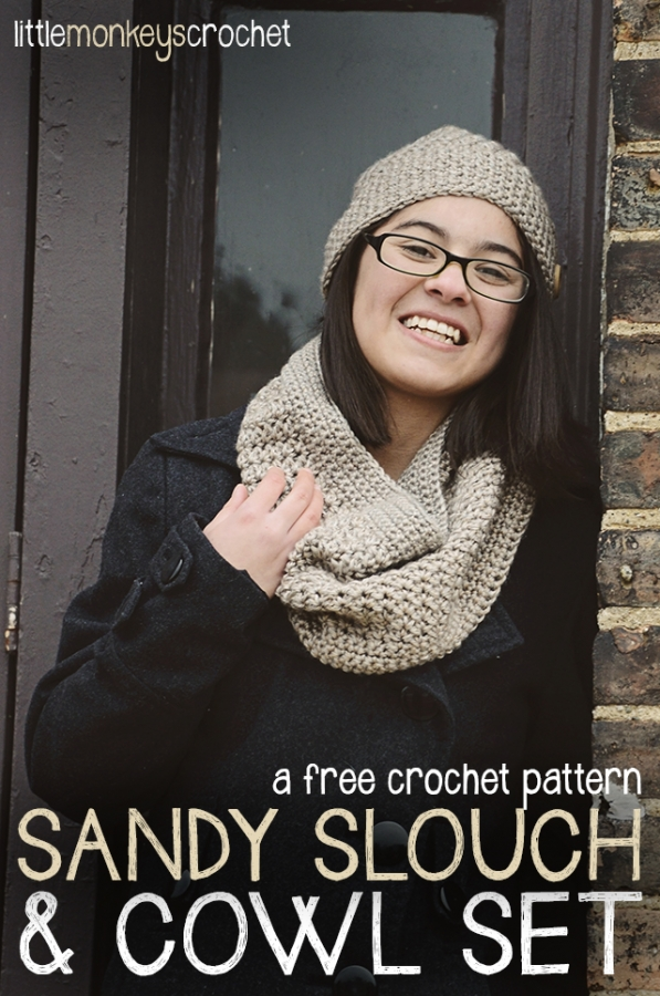 crochet slouch hat and cowl pattern set