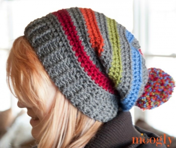 crochet striped slouch hat free pattern