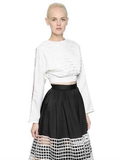 cropped net fashion shirt