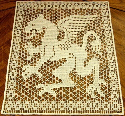 filet crochet dragon