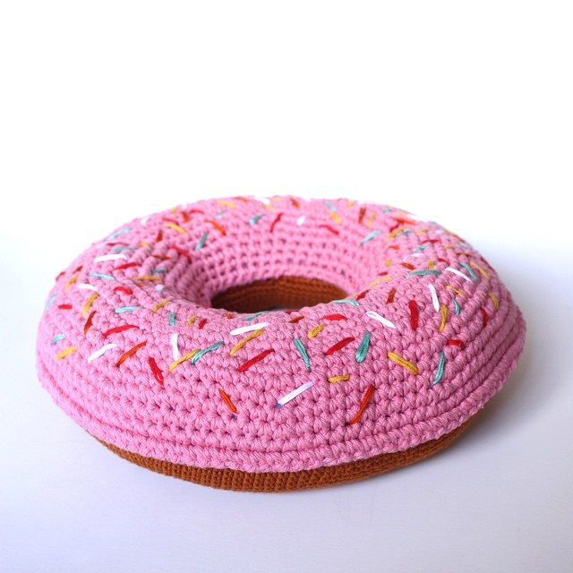 Crochet Donut Pillow : like how the sprinkles on this crochet donut pillow are made using ...