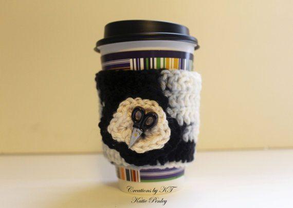 scissors crochet coffee cozy