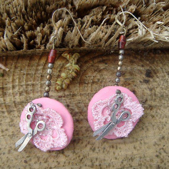 scissors crochet earrings
