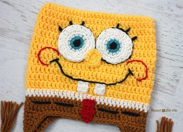 spongebob square pants free crochet hat pattern
