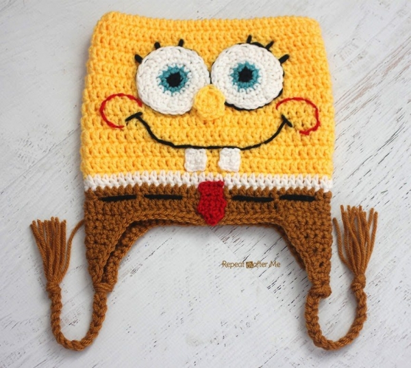 spongebob square pants crochet hat