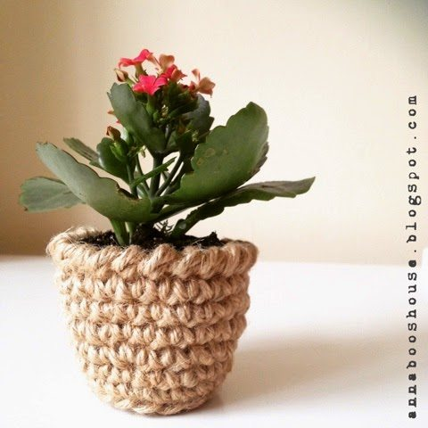 twine crochet flower pot pattern
