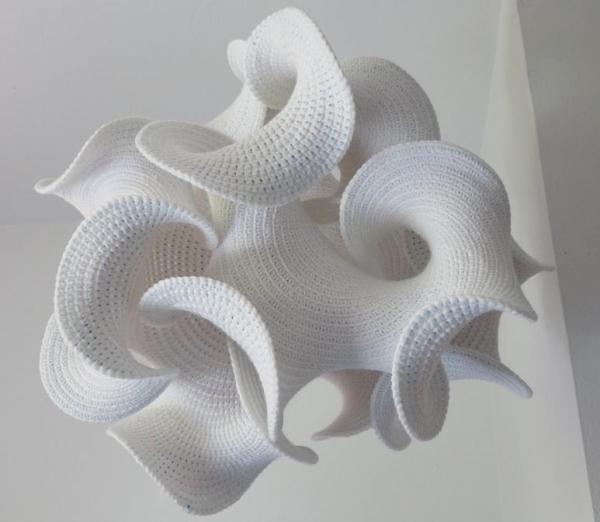 white hyperbolic crochet art