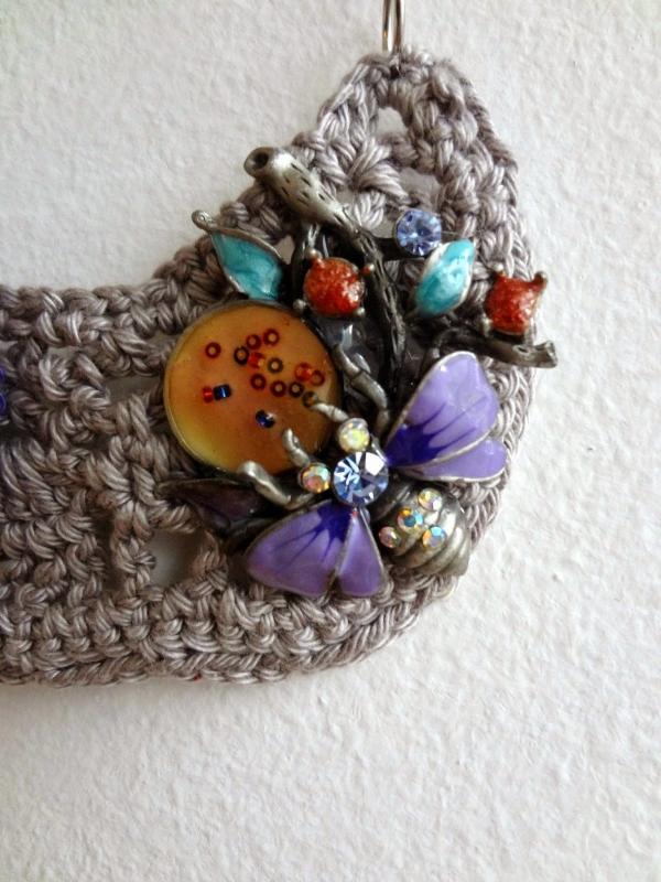 crochet art brooch