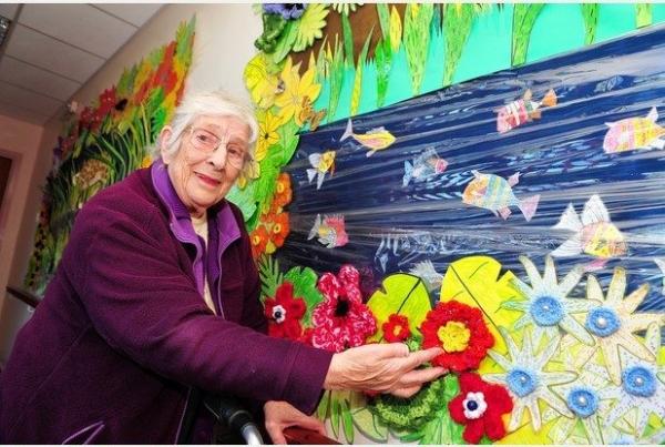 crochet art mural