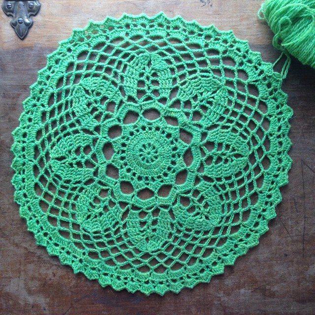crochet green doily woolyana