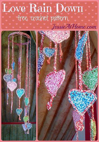 crochet hearts mobile pattern