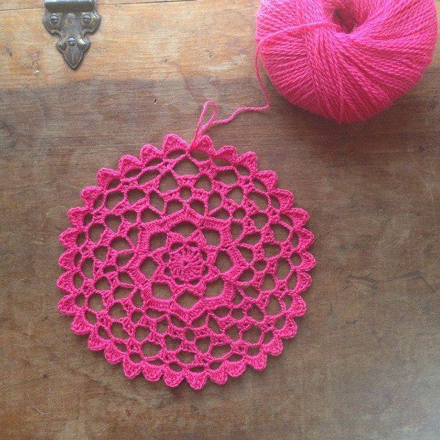 crochet pink doily wip woolyana