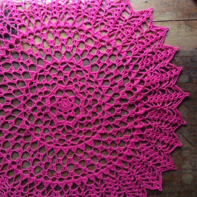 crochet pink doily woolyana